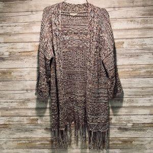 Marbled Knit Open Fringe Long Cardigan Sweater M